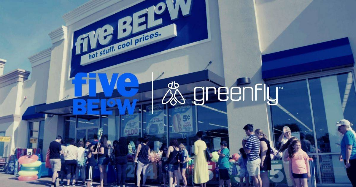 Excited customers line up outside of a Five Below location.