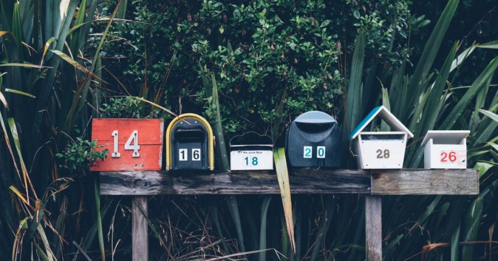 Row of mailboxes for hyperlocal marketing.