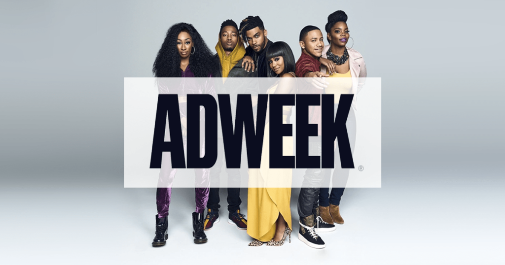 Adweek in front of BET talent brand advocate photo.