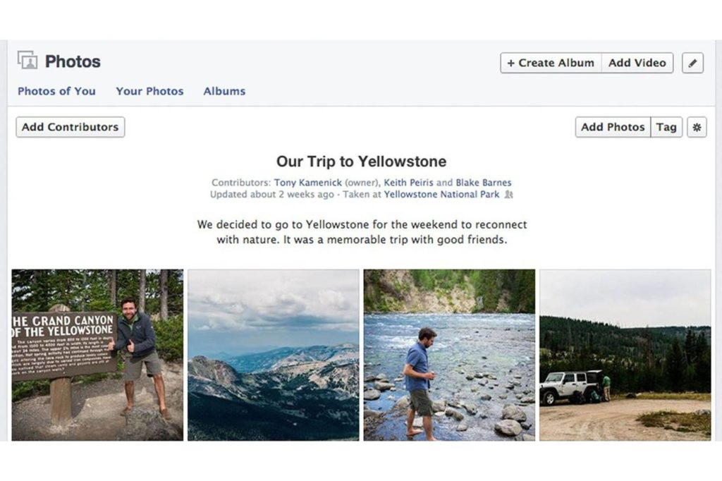 Facebook shared album for collecting photos from groups